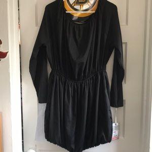 Black bubble hemmed dress